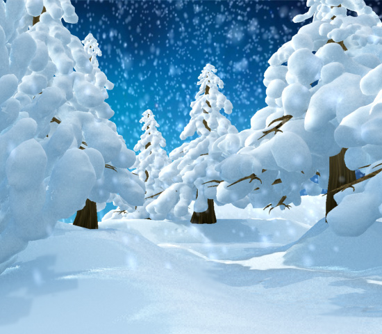 3d max winter park snow conifer trees