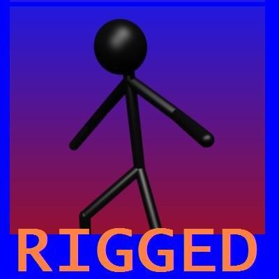 3d stickman rigged model