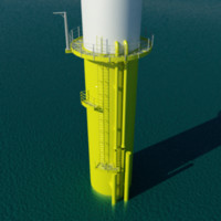 Wind Turbine Offshore Monopile Base