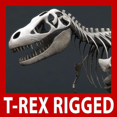 3d model rigged tyrannosaurus rex skeleton bones