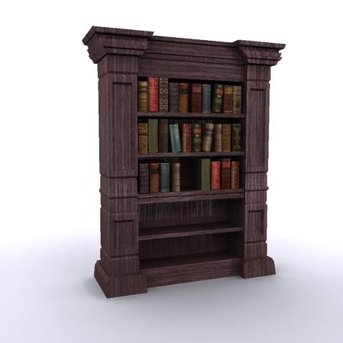 Antique Bookshelf Old Books 3d Model