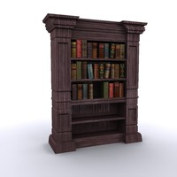 antique bookshelf old books 3d model