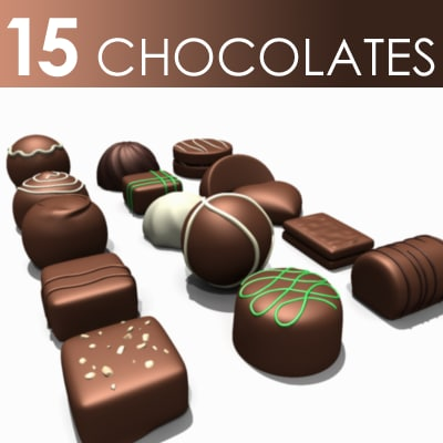 3d c4d 15 chocolate pieces