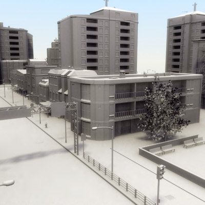 3ds max city clean buildings street