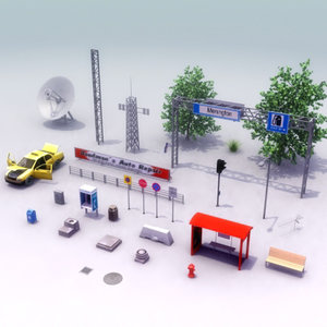 street furniture trees 3d 3ds