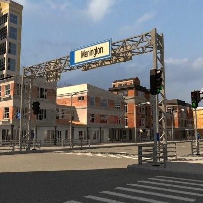 3d city scene buildings street