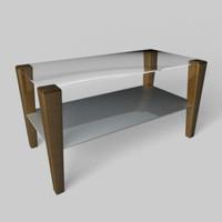 c4d modern glass-top sofa table