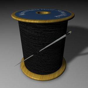 3d model needle thread spool