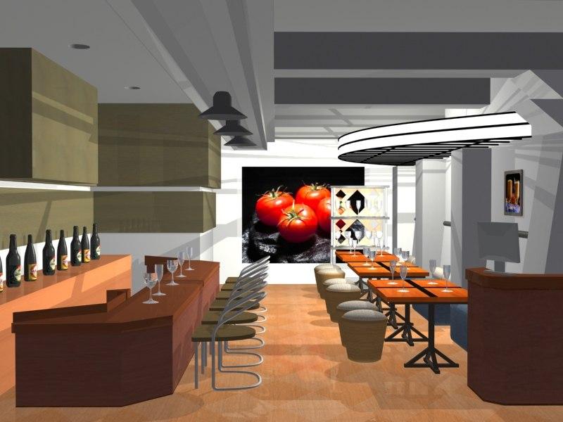 3ds max restaurant cafetaria for Restaurant 3d max