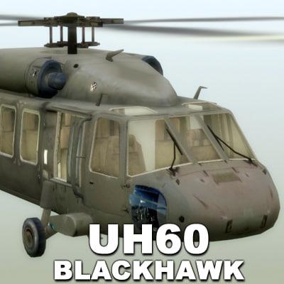 3d model uh60 blackhawk helicopter black hawk