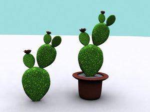 3d model opuntia cactus