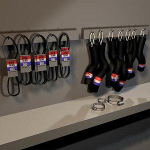 3d fan belts radiator hoses model