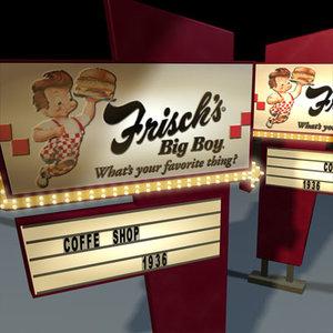 3d model big boy sign 01