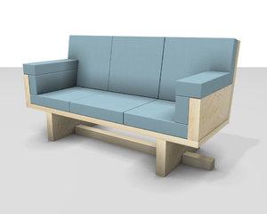 maple sofa 3d model