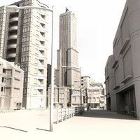 city buildings street 3d model