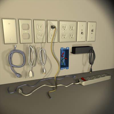 electrical parts 01 circuit 3d model