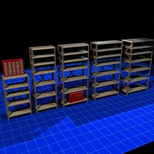 metal shelves 01 3d max
