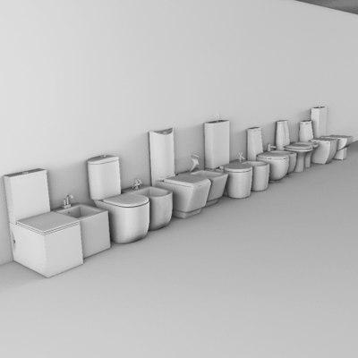 3d model of monoblock closet bidets