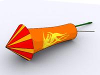 cartoon chinese fireworks sky 3d model