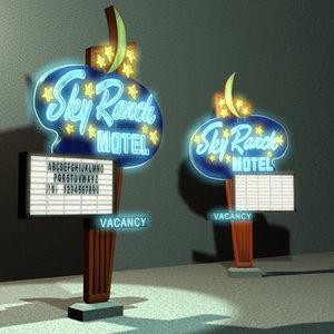 3d model sky ranch motel sign