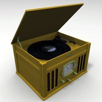 3d model antique record player