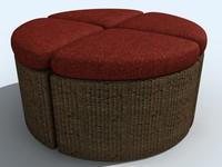 3d chair ottoman model