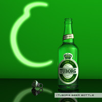 3d tuborg beer bottle model