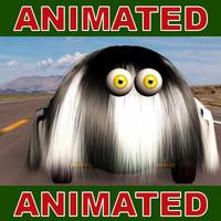 comic hair animation 3d model