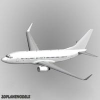 b737-700 generic white 737 3d max