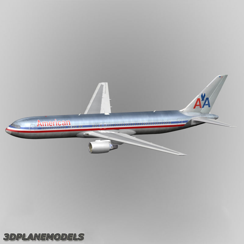 b767-300 american airlines 767-300 3d obj
