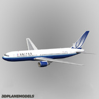 3d b767-300 united airlines 767-300
