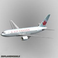3d b767-200 air canada 767-200 model