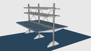 3d model e-z shelving freestanding back-to-back