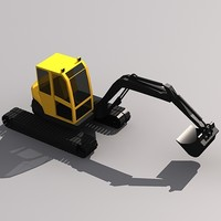3d compact excavator model