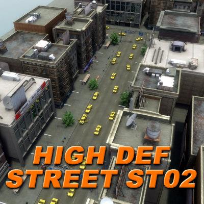 3d city building hd street model