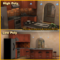 3D High & Low Poly Kitchen Model