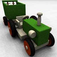 Wooden Tractor with Trailer I
