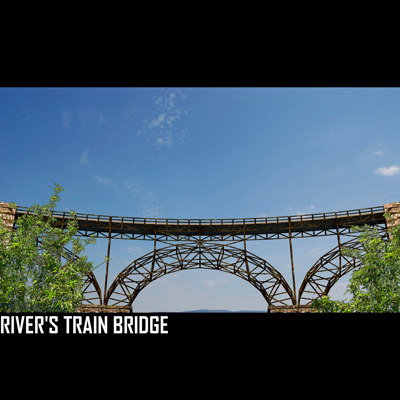 3d model metalic bridge train rivers