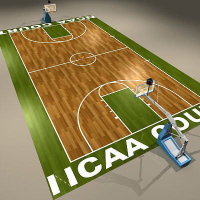 3d ncaa basketball court ball