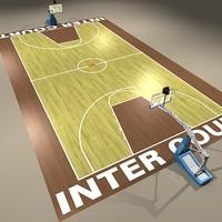 3d international basketball court ball model
