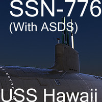 US Navy SSN-776 USS Hawaii Attack Submarine with ASDS