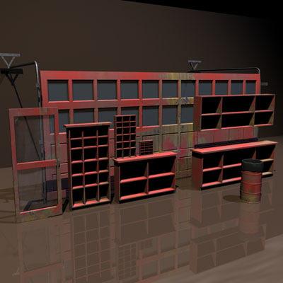 3d garage door woodwork 01 model