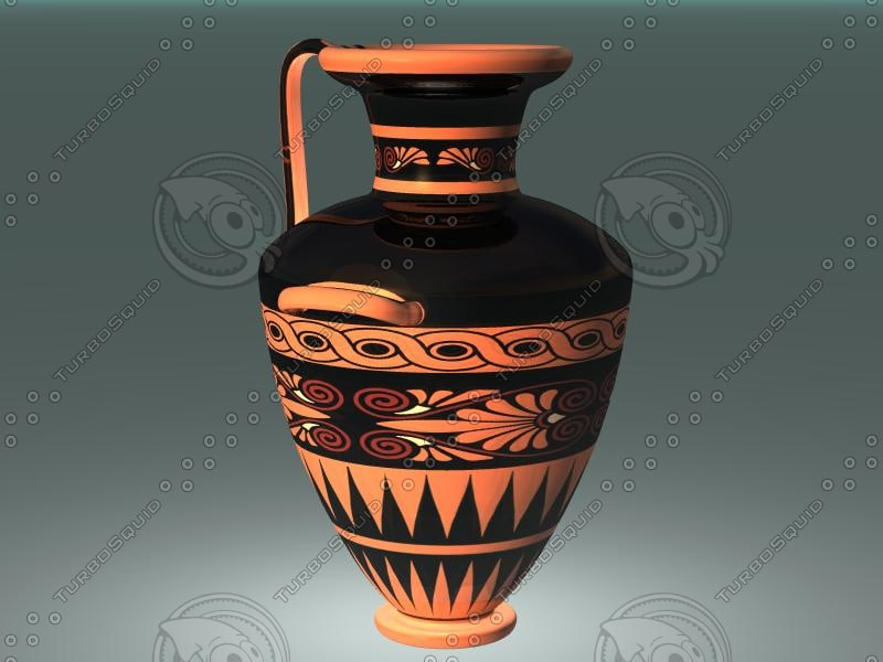 3d ancient red figure pottery model
