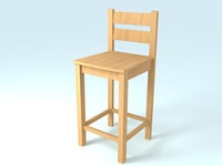 wooden bar stool 3d max