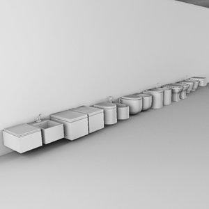 3d model wall hanging closet bidets