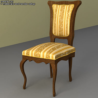 3d max chair interior damask