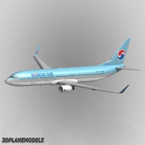 3d b737-900 korean air aircraft