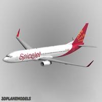 3ds b737-900 spicejet aircraft 737