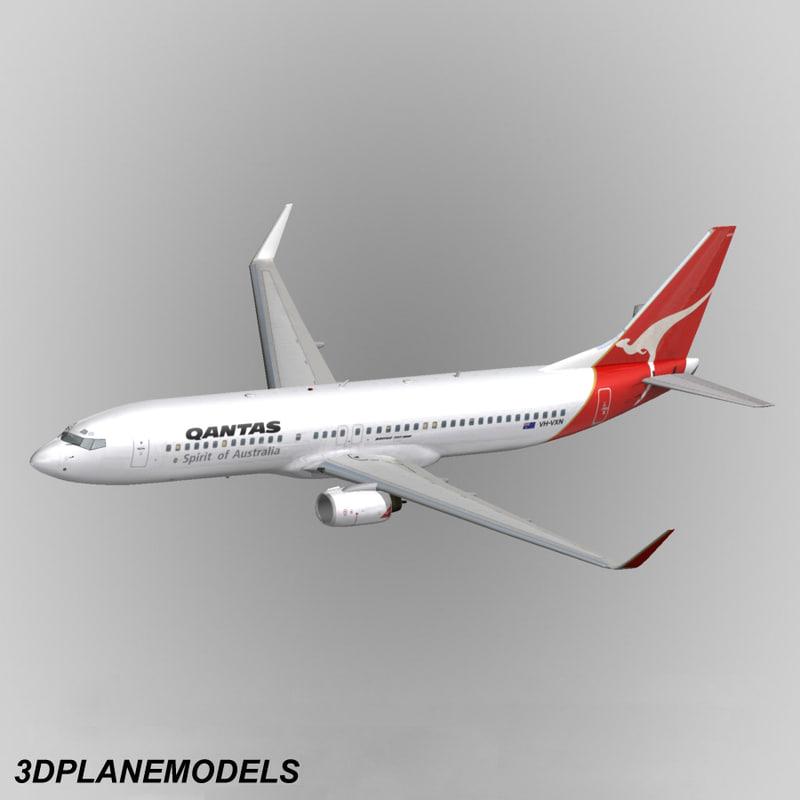 b737-800 qantas 737 3d dxf