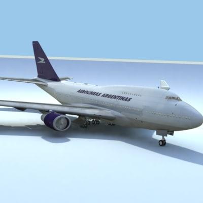 747-sp-aerolineas argentina 3d model